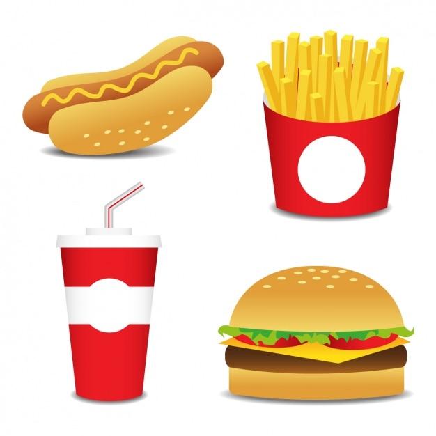 Diseños planos de comida rápida vector gratuito