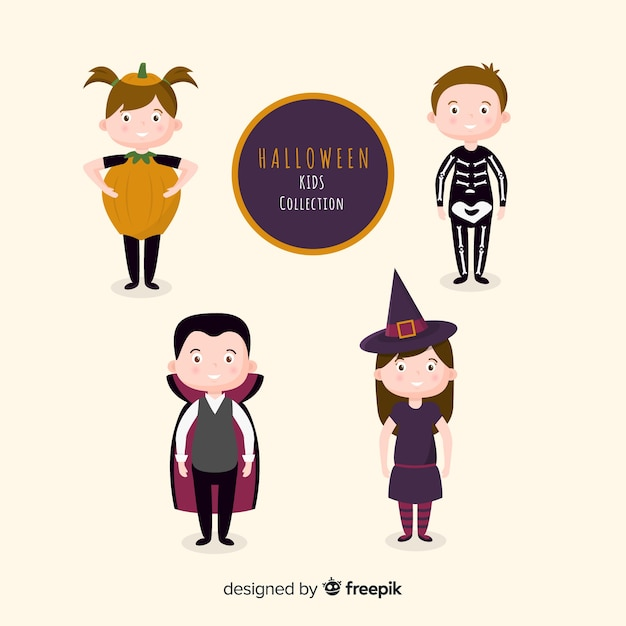 Disfraces planos para niños para halloween vector gratuito