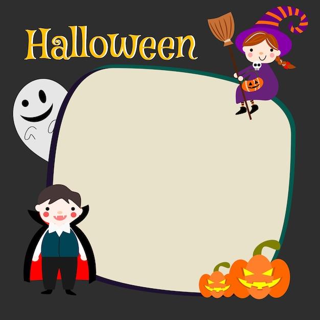 Disfraz de halloween para niños con papel en blanco. Vector Premium