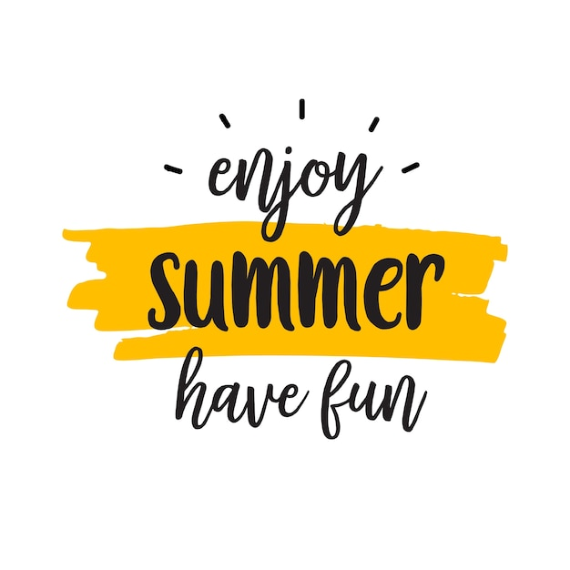 Disfruta de letras de verano Vector Premium