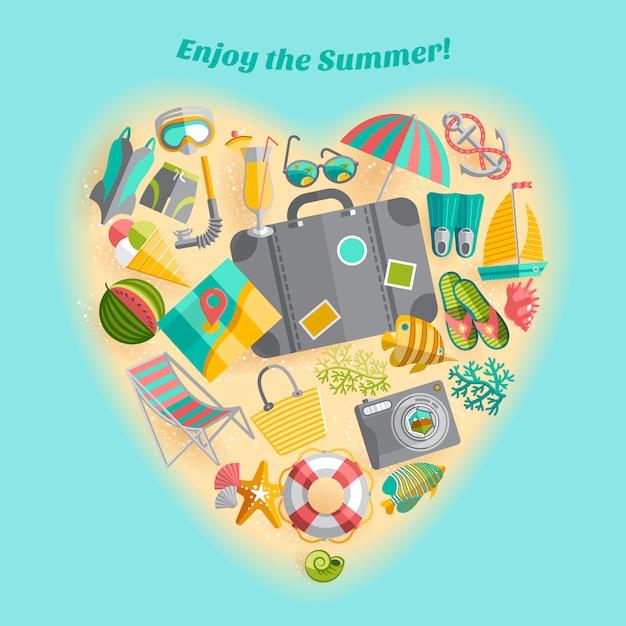 Disfrutar del cartel de composición en forma de corazón de iconos de viajes de vacaciones de verano vector gratuito