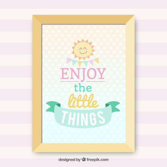 Disfrute de las pequeñas cosas, letras Vector Gratis