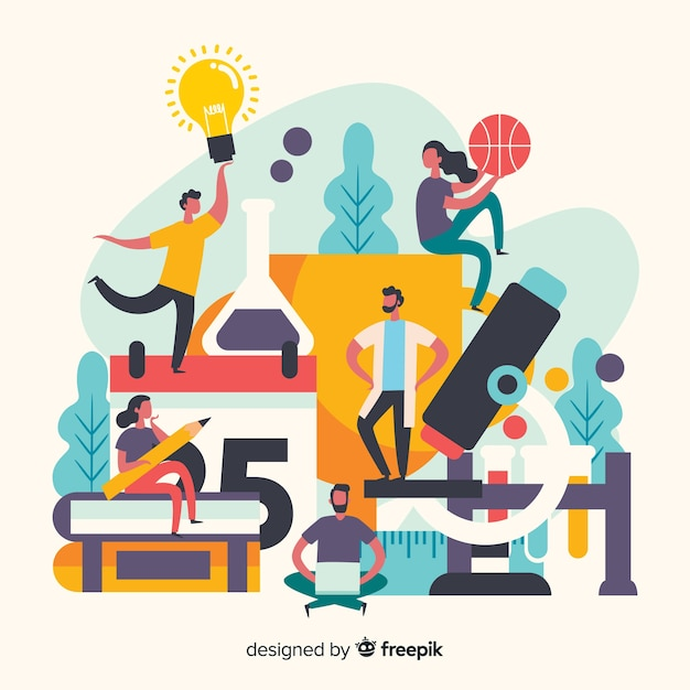 Disposición del concepto universitario de personas y objetos. vector gratuito