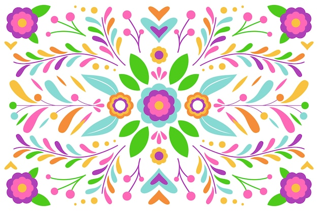 Disposición de diseño plano de fondo de hojas y flores vector gratuito