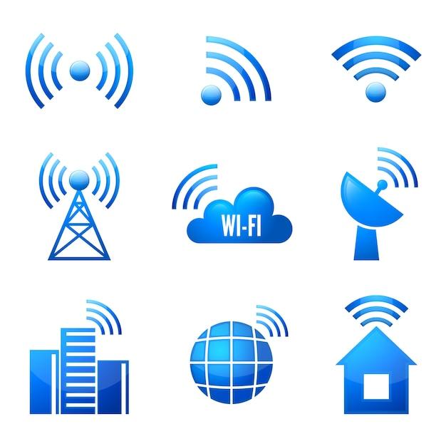 Dispositivo electrónico inalámbrico conexión a internet wifi símbolos iconos brillantes o pegatinas conjunto aislado ilustración vectorial vector gratuito
