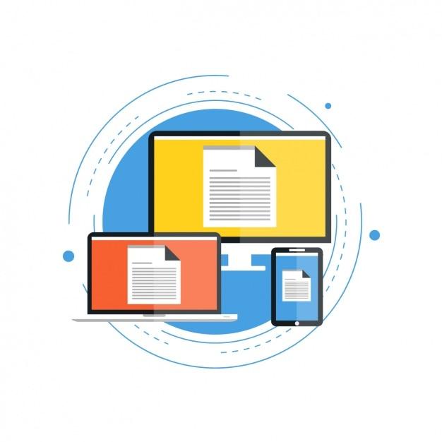 Dispositivos con documentos en las pantallas Vector Gratis