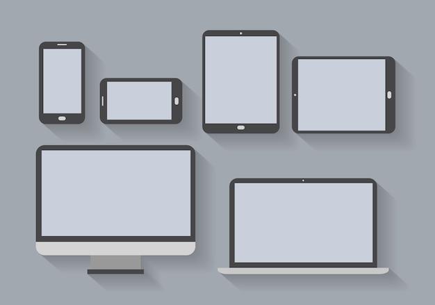 Dispositivos electrónicos con pantallas en blanco. teléfonos inteligentes, tabletas, monitor de computadora, netbook. vector gratuito