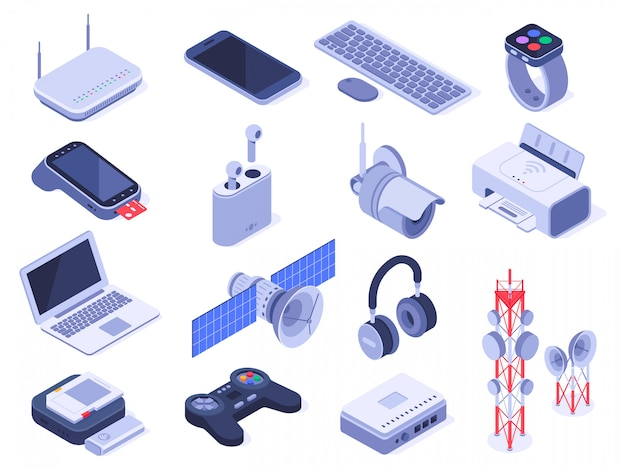 Dispositivos inalámbricos isométricos. equipo de conexión de dispositivos, control remoto de conexión inalámbrica y conjunto de dispositivos de enrutador Vector Premium