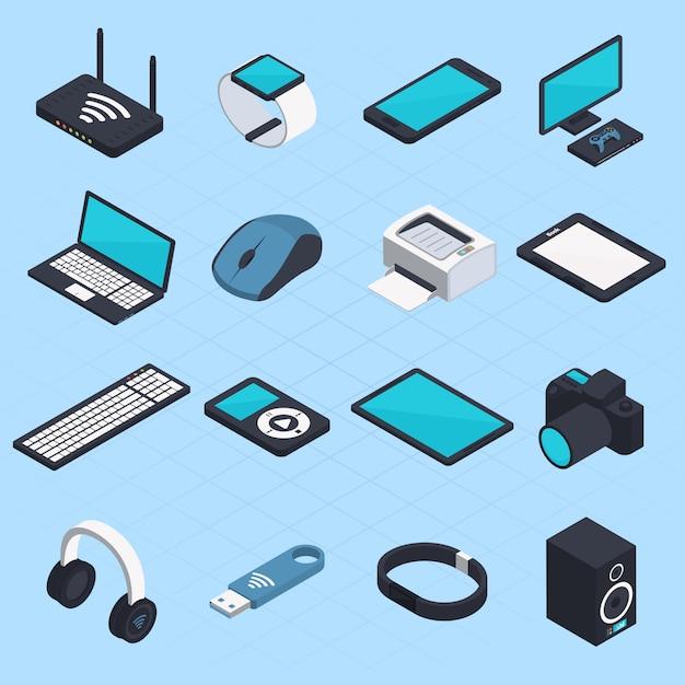 Dispositivos móviles inalámbricos isométricos vector gratuito