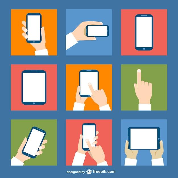 Dispositivos de pantalla táctil vector gratuito