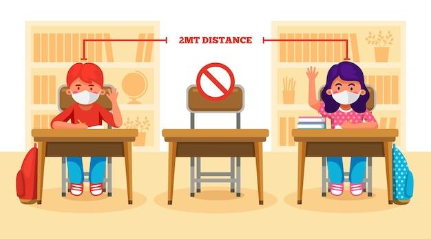 Distanciamiento social en la escuela nuevas escenas vector gratuito