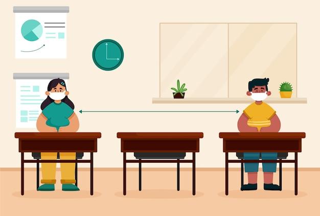 Distanciamiento social en la escuela vector gratuito