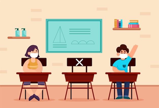 Distanciamiento social en la escuela Vector Premium