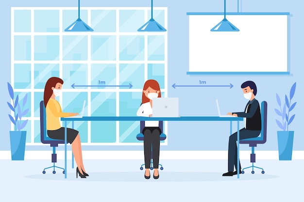 Distanciamiento social en una reunión de negocios vector gratuito