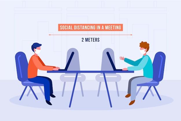Distanciamiento social en una reunión vector gratuito