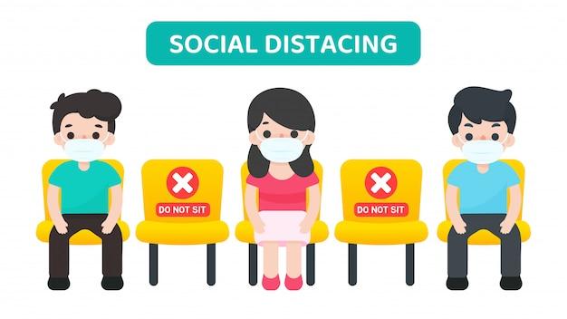 Distanciamiento social. vector de dibujos animados personas sentadas en una silla espaciadas contra otras, evitando la propagación del virus corona. Vector Premium