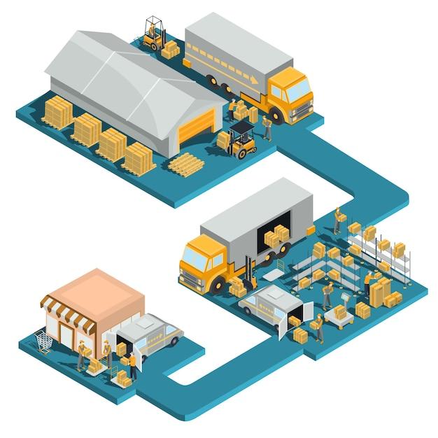 Distribución de mercancías de un almacén a una tienda Vector Gratis