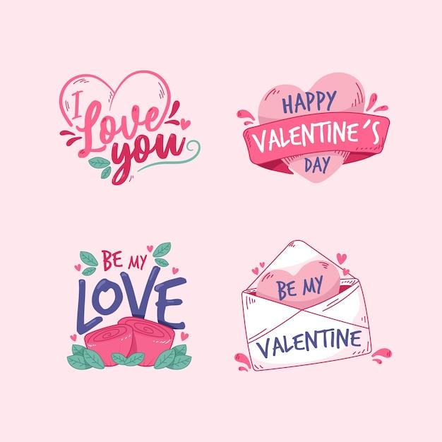 Diversas etiquetas e insignias para san valentín dibujado a mano vector gratuito