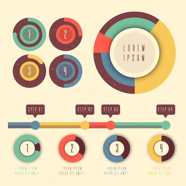 Diversas infografías de gráficos circulares en diseño plano vector gratuito