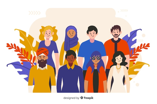 Diversidad cultural vector gratuito