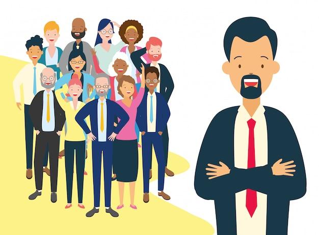 Diversidad hombre y mujer de negocios vector gratuito