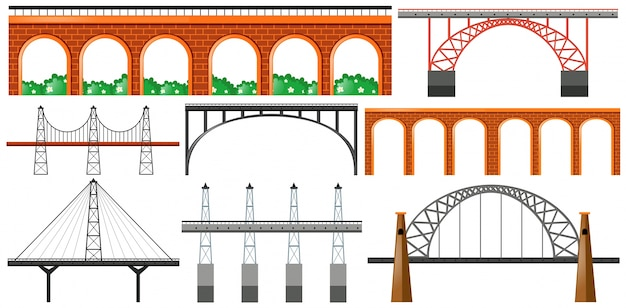 Diverso diseño de puentes vector gratuito
