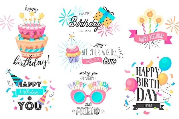 Divertida colección de cumpleaños dibujada a mano vector gratuito