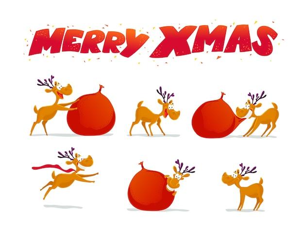 Divertida colección de retratos de personajes de renos sobre fondo blanco. . elementos de decoración de navidad. tarjeta de feliz navidad y próspero año nuevo. Vector Premium