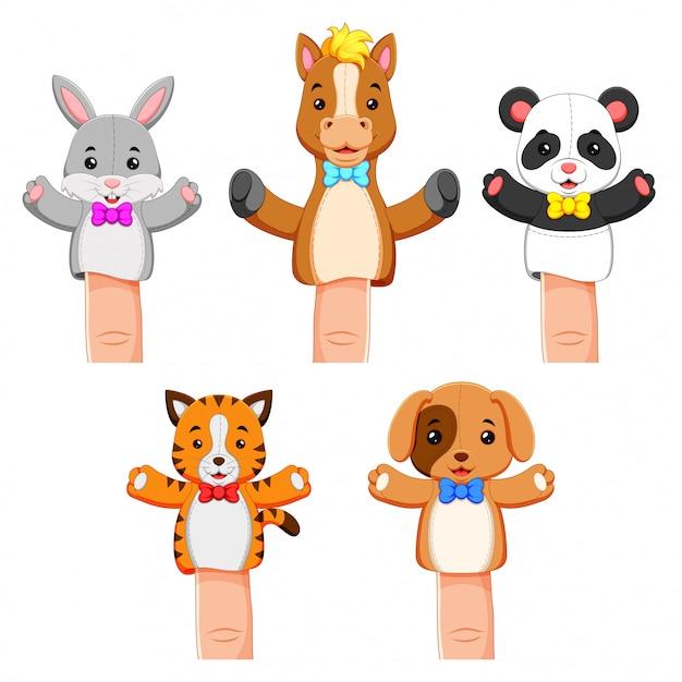 Una divertida colección de títeres mascota animal Vector Premium