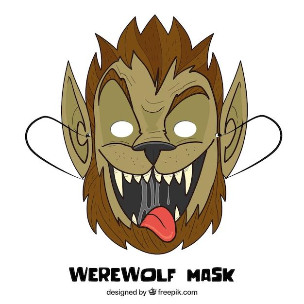 Divertida Mascara De Hombre Lobo Dibujada A Mano Vector Gratis
