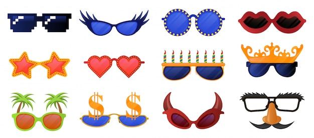 Divertidas gafas de fiesta. carnaval, gafas de sol de disfraces, conjunto de iconos de ilustración de gafas de fiesta de fotomatón. colección de gafas de disfraces, bigote divertido y máscara Vector Premium