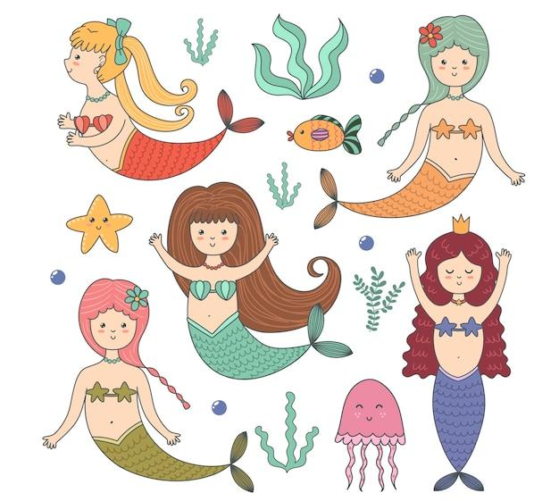 Divertido conjunto de colores con lindas sirenas, peces, medusas, estrellas de mar y algas. Vector Premium