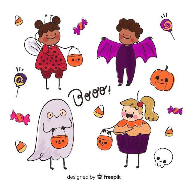 Divertido y lindo disfraz de halloween para niños con dulces vector gratuito
