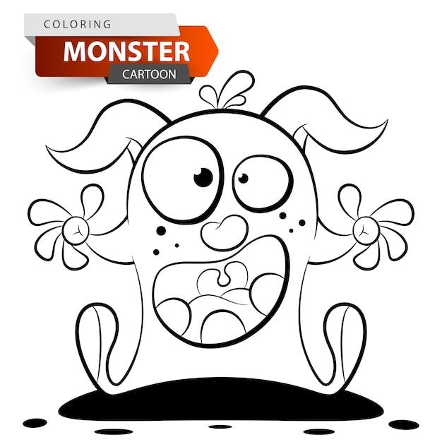 Divertido, lindo, loco personaje de monstruo de dibujos animados ...