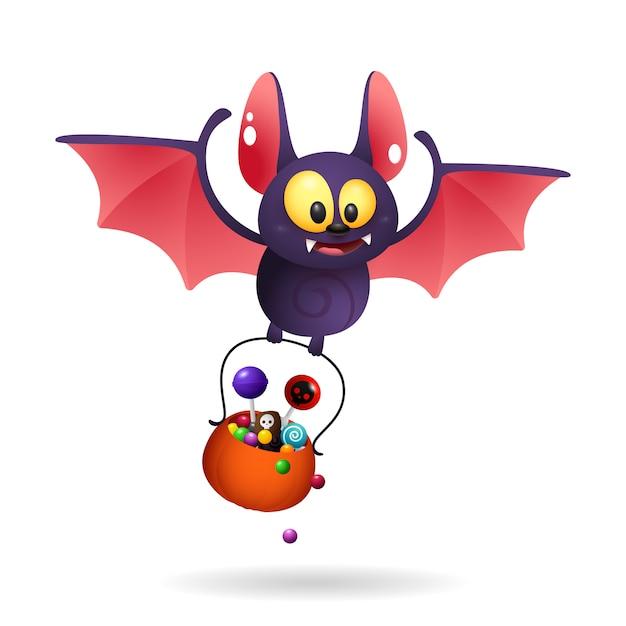 Divertido lindo murciélago llevando golosinas vector gratuito