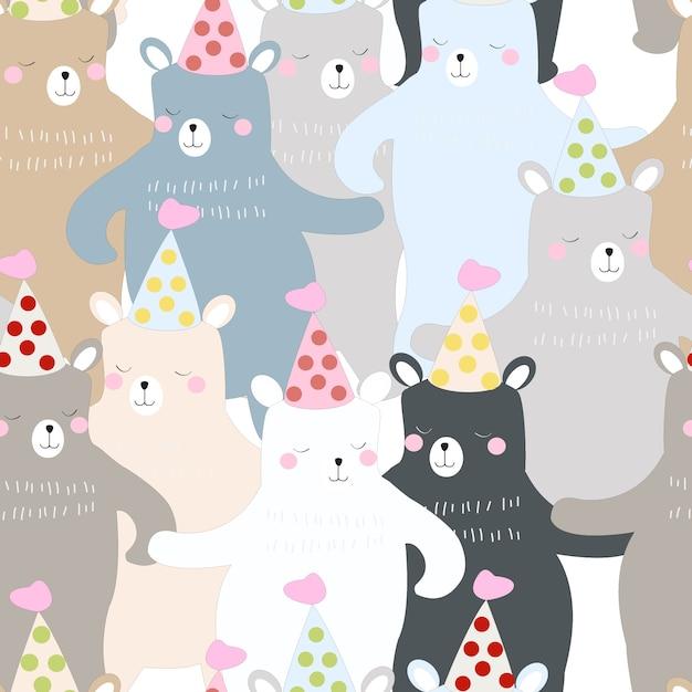Divertido oso de peluche de patrones sin fisuras de dibujos animados ...