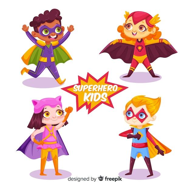 Divertido paquete de superhéroes niños vector gratuito