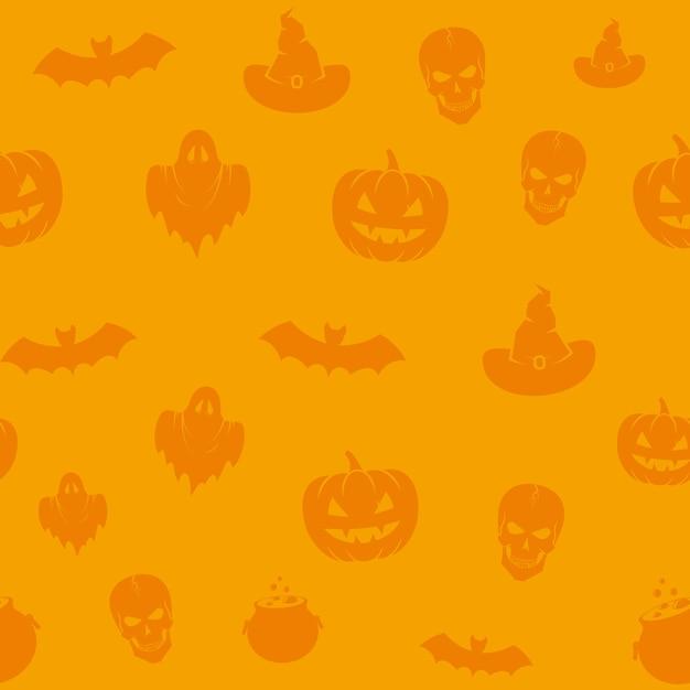 Divertido patrón de fondo transparente de los iconos de halloween. Vector Premium