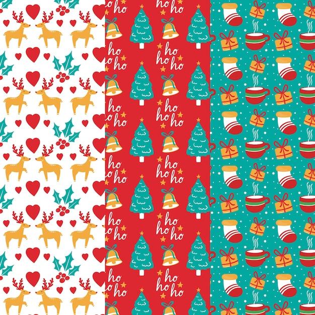 Divertido patrón de navidad vector gratuito