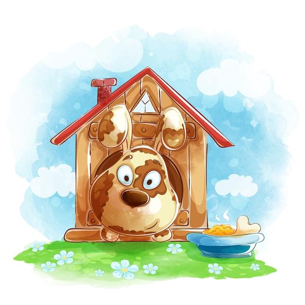 Divertido perro lindo se ve fuera de una caseta de perro, un plato de comida y hueso. Vector Premium