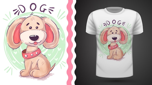 Divertido perro de peluche para camiseta estampada. Vector Premium