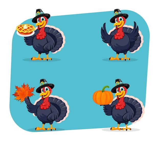 Divertido personaje de dibujos animados de aves de turquía de acción de gracias Vector Premium