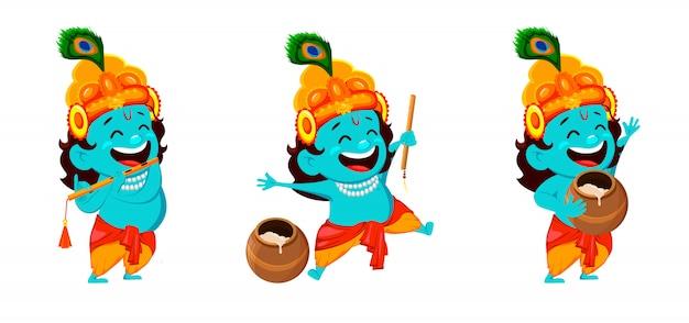 Divertido personaje de dibujos animados lord krishna Vector Premium