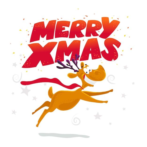 Divertido retrato de personaje de reno. . elementos de decoración de navidad. tarjeta de feliz navidad y próspero año nuevo. Vector Premium