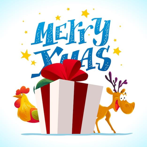 Divertido retrato de personaje de reno y gallo. . elementos de decoración de navidad. tarjeta de feliz navidad y próspero año nuevo. Vector Premium