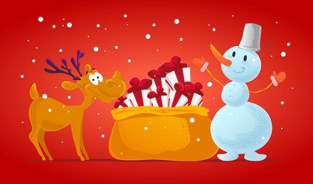 Divertido retrato de personaje de reno y muñeco de nieve. . elementos de decoración de navidad. tarjeta de feliz navidad y próspero año nuevo. Vector Premium