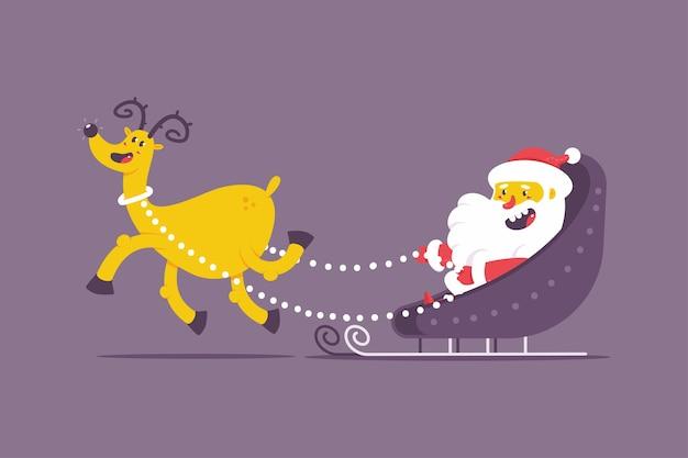 Divertido santa claus en trineo de navidad con personaje de dibujos animados de vector de renos aislado en Vector Premium