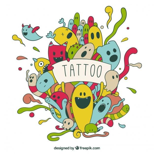 Divertido tatuaje de personajes de colores dibujados a mano vector gratuito