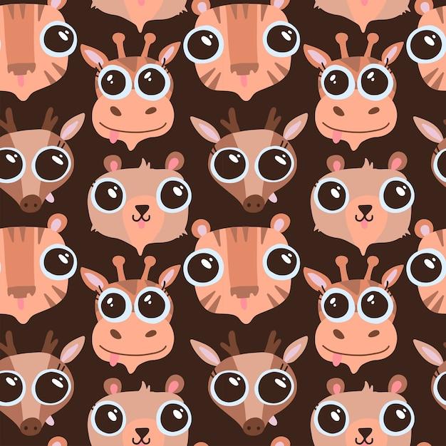 Divertidos animales dibujados a mano de patrones sin fisuras. caras de animales de dibujos animados lindo - tigre, oso, ciervo, jirafa. personajes de vida silvestre. textura plana para textil infantil, diseño de guardería. escucha con ojos grandes. Vector Premium
