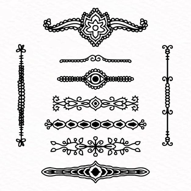 Divider collection diseño dibujado a mano vector gratuito